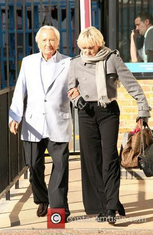 Michael Winner and wife Geraldine at the ITV studios London, England - 21.10.10