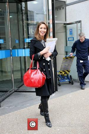 Emma Crosby outside the ITV studios carrying a red handbag London, England - 11.03.10