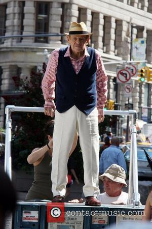 Jerry Stiller  filming on the set of a new commercial for Capital One Bank in the Flatiron District. New...