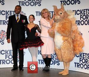 Johnson Beharry VC and Joanna Lumley Tickets For Troops - Photocall held at the Royal Opera House London, England -...