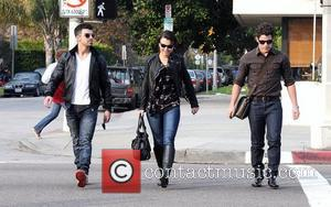 Joe Jonas and Nick Jonas have lunch with a friend in West Hollywood Los Angeles, California - 07.01.11