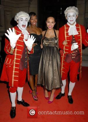 Myleene Klass and Jamelia,  at celebrity agent, Jonathan Shalit's wedding party at The Victoria & Albert Museum London, England...