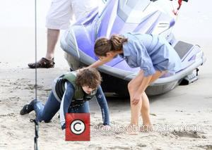 Mila Kunis and Nolan Gould filming 'Friends with Benefits' on location at a beach Los Angeles, California - 07.09.10