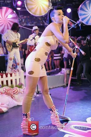 Katy Perry wearing a flesh coloured Formedica leg support while performing live on Muchmusic's 'Live @ Much' promoting her latest...