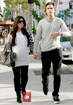 Kourtney Kardashian and Scott Disick expectant parents having lunch at Il Pastaio restaurant in Beverly Hills Los Angeles, California -...