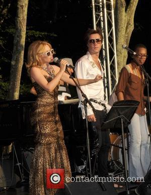 Kylie Minogue and Rufus Wainwright  performing live in concert at the Watermill Center Musuem benefit Hamptons, New York -...