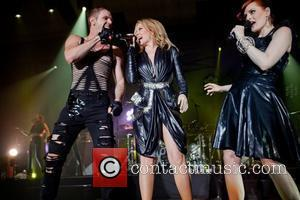 Jake Shears, Kylie Minogue, Ana Matronic Singer Kylie Minogue makes a surprise guest appearance with Scissor Sisters at Melbourne's Festival...