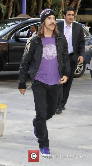 Anthony Kiedis of the Red Hot Chili Peppers arriving at the Staples Center to watch the LA Lakers vs The...