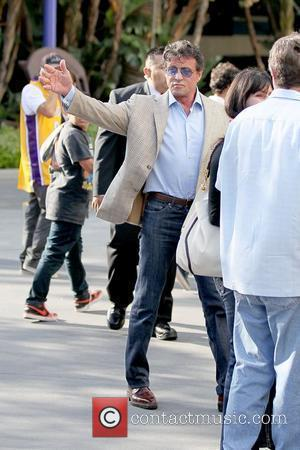 Sylvester Stallone Celebrities arriving at the Staples Center to watch Los Angeles Lakers vs. Boston Celtics Game 1 of the...