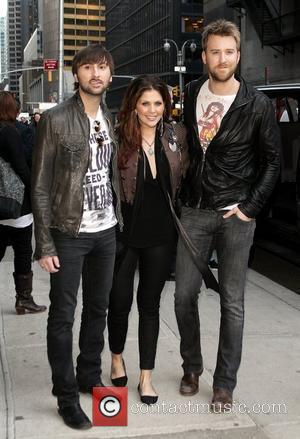 Dave Haywood, Hillary Scott and Charles Kelley of Lady Antebellum outside the Ed Sullivan Theatre for the 'Late Show With...