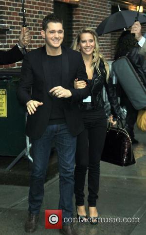 Singer Michael Buble and David Letterman