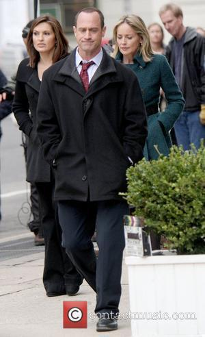 Christopher Meloni, Sharon Stone, Mariska Hargitay on the set of 'Law and Order: Special Victims Unit' filming in Tribeca. New...