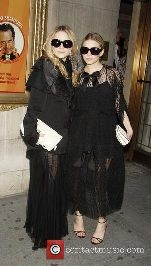 Mary-Kate Olsen and Ashley Olsen attending the opening night of the Broadway play 'Lend Me A Tenor' at the Music...