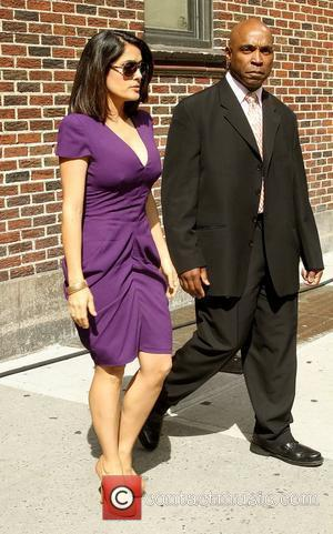 Salma Hayek and David Letterman