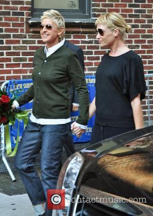 Ellen Degeneres and Portia Di Rossi outside The Ed Sullivan Theater for 'The Late Show with David Letterman' New York...