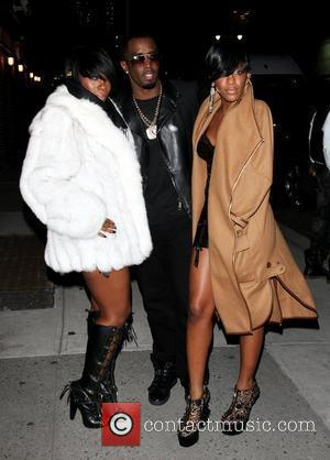 Kalenna Harper, Sean Combs aka Diddy and Dawn Richard of Diddy-Dirty Money outside The Ed Sullivan Theater for 'The Late...