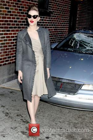 Scarlett Johansson outside The Ed Sullivan Theater for 'The Late Show' with David Letterman Show New York City, USA -...