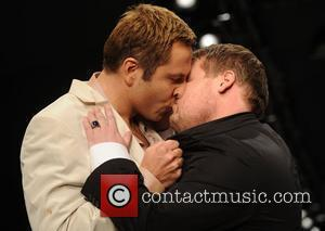 David Walliams and James Corden share a steamy moment on the catwalk London Fashion Week 2010 - Fashion For Relief...