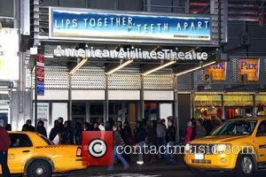 The marquee for the now postponed Roundabout Theatre Broadway production of Terrence McNally's 'Lips Together, Teeth Apart' at the American...