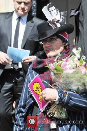 Adam Ant aka Stuart Goddard leaving the Holy Trinity Church in Marylebone after a funeral service for the late Malcolm...