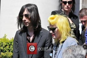 Bobby Gillespie and Pam Hogg leaving the Holy Trinity Church in Marylebone after a funeral service for the late Malcolm...