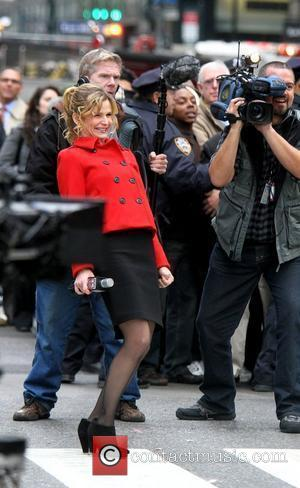 Kyra Sedgwick shooting on location for 'Man on a Ledge' at the Roosevelt Hotel on Madison Avenue. Nw York City,...