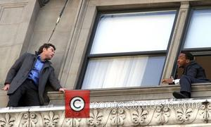 Sam Worthington and Anthony Mackie on the set for their new film 'Man On A Ledge' New York City, USA...