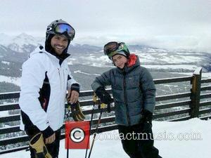 Mark Consuelos and son Michael Joseph Consuelos Mark Consuelos posing with his son while skiing together during a holiday trip....