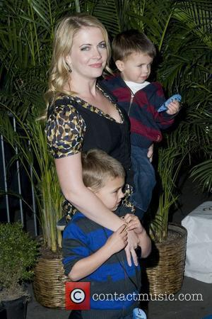 Melissa Joan Hart with sons Mason Walter Wilkerson and Braydon Hart Wilkerson New York Premiere of 'Megamind' held at the...
