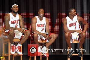 LeBron James, Dwyane Wade and Chris Bosh NBA's Miami Heat welcome party at the American Airlines Arena Miami, Florida -...
