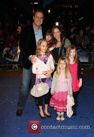 Peter Jones, Tara Capp and family 'Nanny McPhee And The Big Bang' World film premiere held at the Odeon West...
