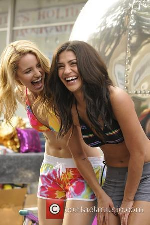 "Dianna Agron and Jessica Szohr poses for the Op ""Rock Your Shine"" spring 2010 campaign USA - 2010  Op..."