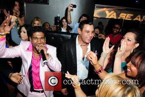 Omega, Sammy Sosa and wife Sonia Sosa  Pitbull 30th birthday celebration at Club Play  Miami Beach, Florida -...