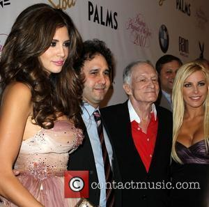 Hope Dworaczyk, George Maloof, Hugh Hefner and Crystal Harris 2010 Playmate of The Year announcement at The Palms Hotel &...