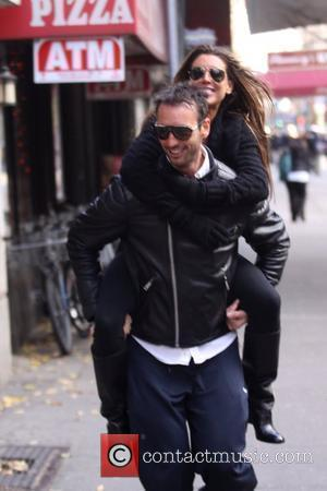 Tiger Woods' alleged mistress Rachel Uchitel gets a piggyback ride to her apartment after lunch New York City, USA -...