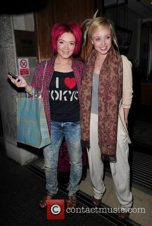Hollyoaks actresses Hollie-Jay Bowes (L) and Jorgie Porter (R) arrive at the BBC Radio 1 Building London, England - 25.04.10