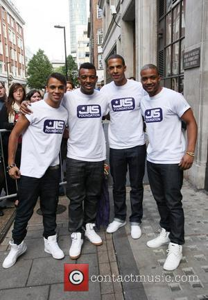 Aston Merrygold, Oritse Williams, Marvin Humes and Jonathan Gill of JLS  Celebrities outside the Radio One studios. London, England...