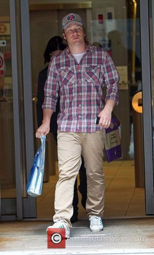 Jamie Oliver leaving the BBC Radio 2 studios London, England - 19.04.10