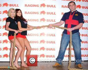 Nicola Mclean, Amy Childs and Phil Vickery launch Raging Bull leisure wear in a celebrity tug of war photocall held...