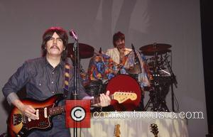 Joe Bithorn as George Harrison and Ralph Castelli as Ringo Starr Opening night of the Broadway production of 'Rain -...