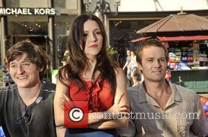 Lucas Neff, Shannon Woodward, Garret Dillahunt Stars of the new show 'Raising Hope' hold a 'Daddy Decathlon' at The Grove...
