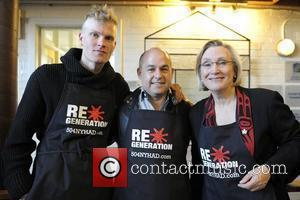 Ryan Guldemond, Robert Blumenthal and Honourable Carolyn Bennett  The RE*Generation Movement serves breakfast with the youth at Eva's Phoenix...