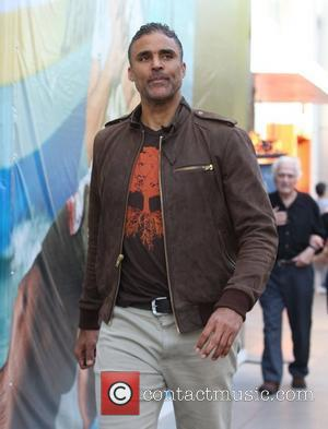 Rick Fox  on his way to do an interview with Mario Lopez at The Grove in Hollywood Los Angeles,...
