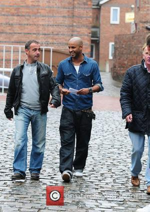 Ricky Whittle arriving at Granada studios, where 'Coronation Street' is filmed, with Michael Le Vell who plays Kevin Webster in...