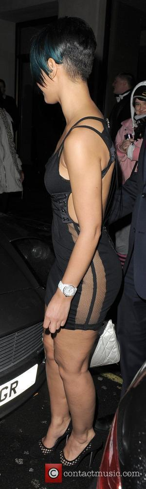 Amelle Berrabah of the Sugababes leaving the 21st birthday party of Rochelle Wiseman, held at the Mayfair Hotel. London, England...