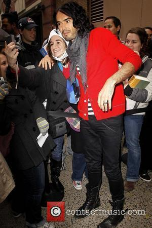 Russell Brand meeting fans outside ABC studios after appearing on 'Live with Regis and Kelly' New York City, USA -...