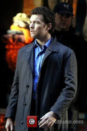 Sam Worthington  on the set of 'Man on a Ledge' in Manhattan New York City, USA - 02.11.10