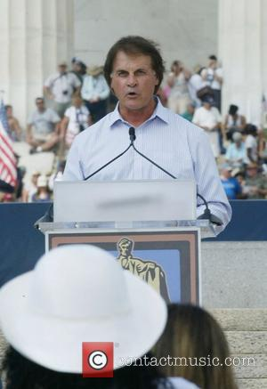 St. Louis Cardinals manager Tony La Russa Rally honouring America's serivce personnel and outstanding citezins on the steps of the...