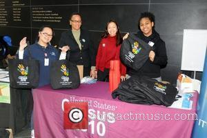 Representatives from the U.S Census WDAS 105.3 FM's 'Steve Harvey Morning Show' broadcasts live at the Kimmel Center to promote...