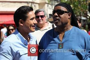 Mario Lopez and Stevie Wonder